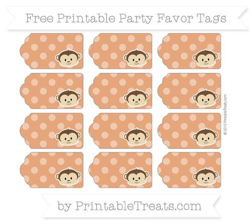 Free Burnt Orange Dotted Pattern Boy Monkey Party Favor Tags