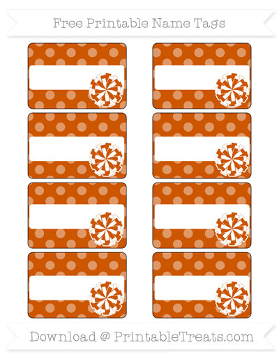 Free Burnt Orange Dotted Pattern Cheer Pom Pom Tags