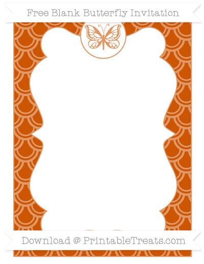 Free Burnt Orange Fish Scale Pattern Blank Butterfly Invitation