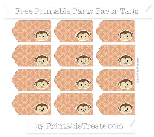 Free Burnt Orange Fish Scale Pattern Boy Monkey Party Favor Tags