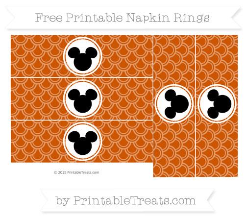 Free Burnt Orange Fish Scale Pattern Mickey Mouse Napkin Rings
