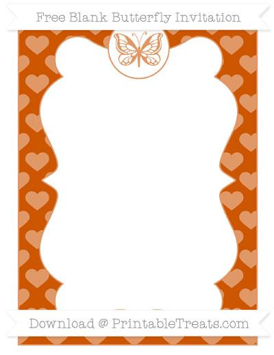 Free Burnt Orange Heart Pattern Blank Butterfly Invitation