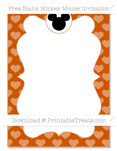 Free Burnt Orange Heart Pattern Blank Mickey Mouse Invitation