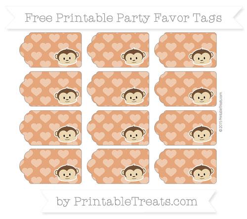 Free Burnt Orange Heart Pattern Boy Monkey Party Favor Tags