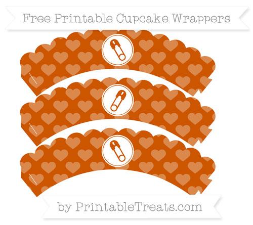 Free Burnt Orange Heart Pattern Diaper Pin Scalloped Cupcake Wrappers