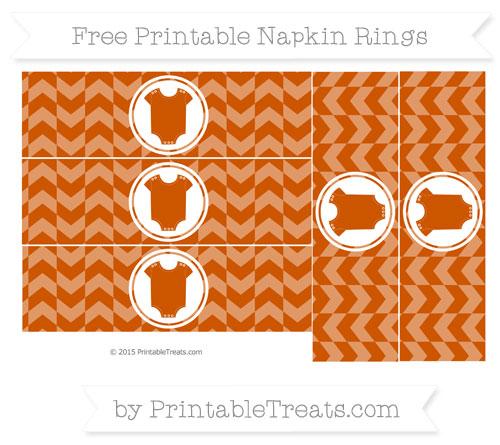 Free Burnt Orange Herringbone Pattern Baby Onesie Napkin Rings