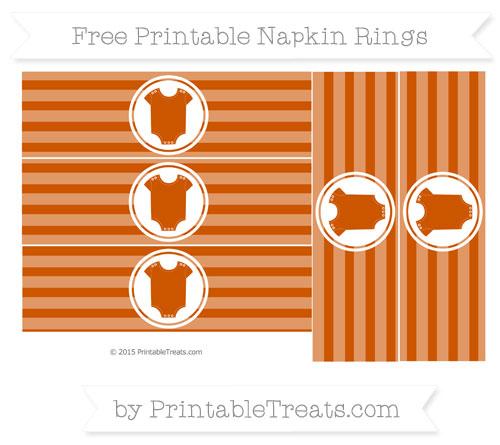 Free Burnt Orange Horizontal Striped Baby Onesie Napkin Rings