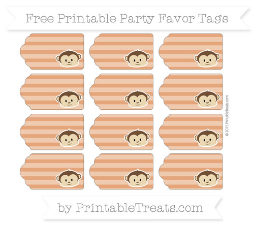 Free Burnt Orange Horizontal Striped Boy Monkey Party Favor Tags