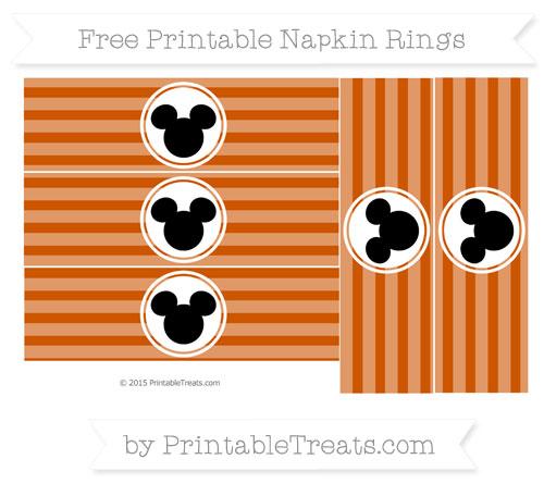 Free Burnt Orange Horizontal Striped Mickey Mouse Napkin Rings