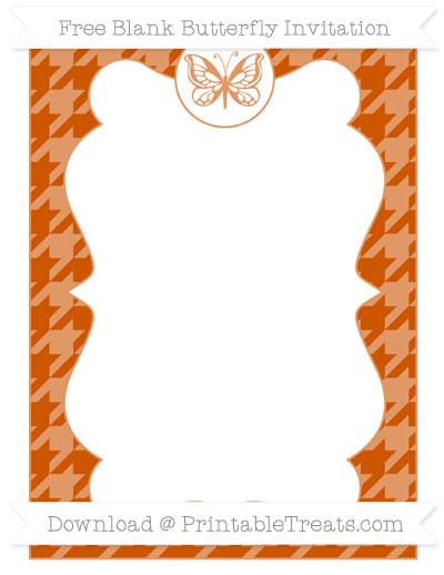 Free Burnt Orange Houndstooth Pattern Blank Butterfly Invitation