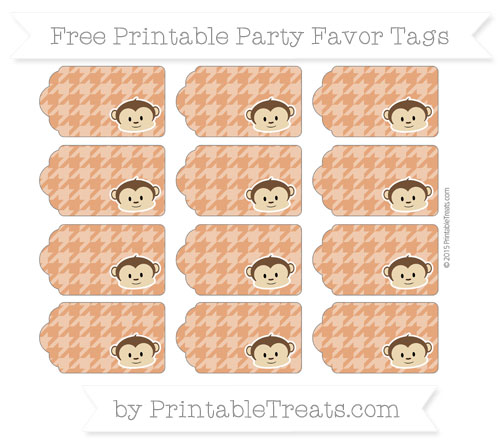 Free Burnt Orange Houndstooth Pattern Boy Monkey Party Favor Tags
