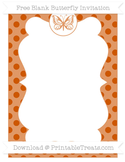 Free Burnt Orange Polka Dot Blank Butterfly Invitation