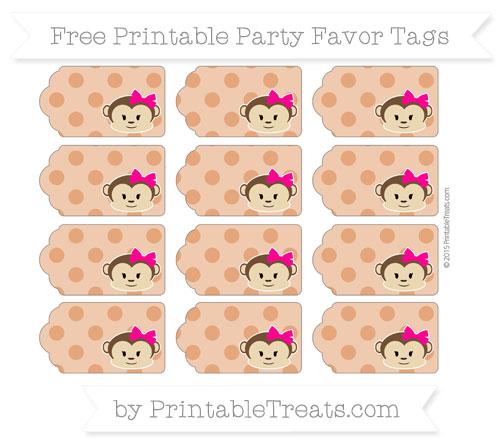 Free Burnt Orange Polka Dot Girl Monkey Party Favor Tags