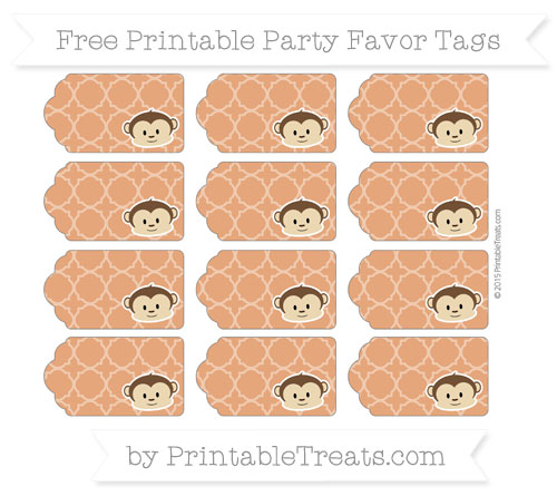 Free Burnt Orange Quatrefoil Pattern Boy Monkey Party Favor Tags