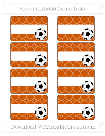 Free Burnt Orange Quatrefoil Pattern Soccer Name Tags