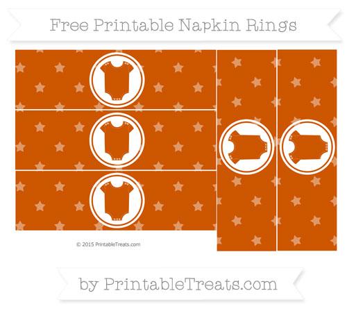 Free Burnt Orange Star Pattern Baby Onesie Napkin Rings