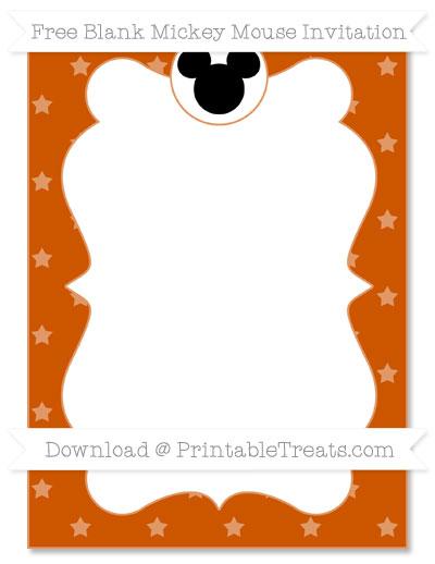 Free Burnt Orange Star Pattern Blank Mickey Mouse Invitation