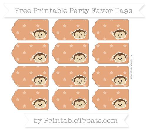 Free Burnt Orange Star Pattern Boy Monkey Party Favor Tags