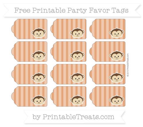 Free Burnt Orange Striped Boy Monkey Party Favor Tags
