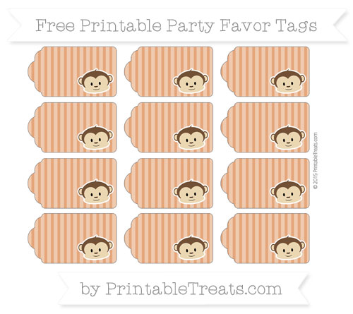 Free Burnt Orange Thin Striped Pattern Boy Monkey Party Favor Tags
