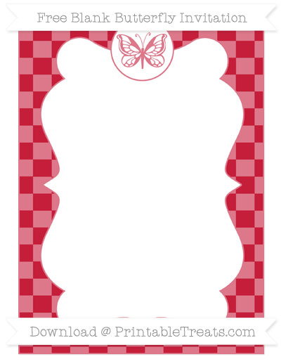 Free Cardinal Red Checker Pattern Blank Butterfly Invitation