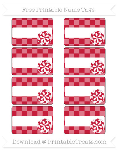 Free Cardinal Red Checker Pattern Cheer Pom Pom Tags