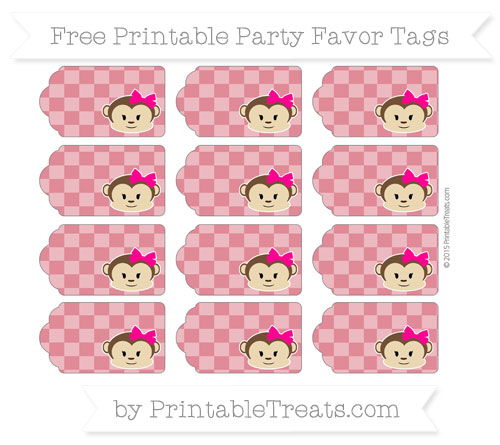 Free Cardinal Red Checker Pattern Girl Monkey Party Favor Tags