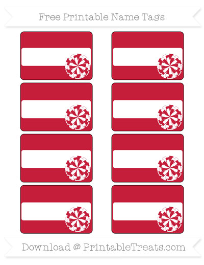 Free Cardinal Red Cheer Pom Pom Tags