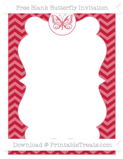 Free Cardinal Red Chevron Blank Butterfly Invitation