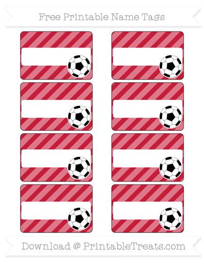 Free Cardinal Red Diagonal Striped Soccer Name Tags