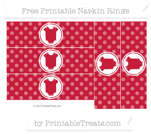 Free Cardinal Red Dotted Pattern Baby Onesie Napkin Rings