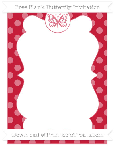 Free Cardinal Red Dotted Pattern Blank Butterfly Invitation