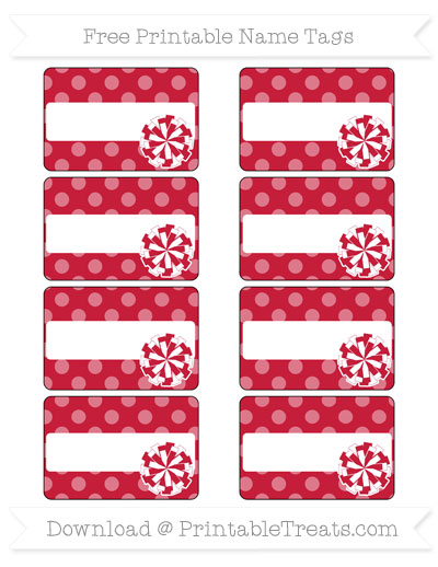 Free Cardinal Red Dotted Pattern Cheer Pom Pom Tags