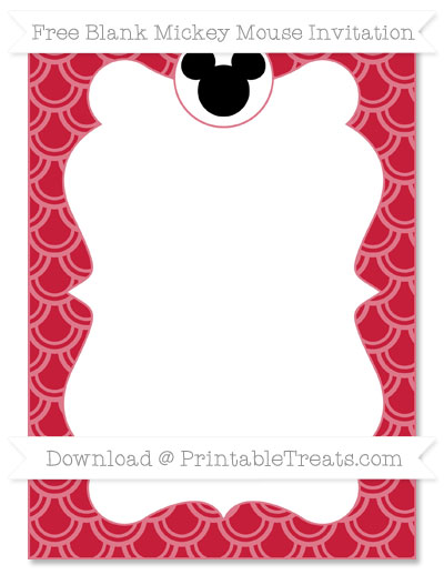 Free Cardinal Red Fish Scale Pattern Blank Mickey Mouse Invitation