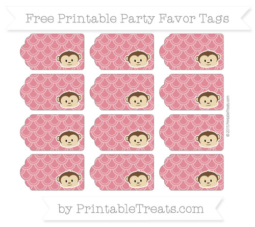 Free Cardinal Red Fish Scale Pattern Boy Monkey Party Favor Tags