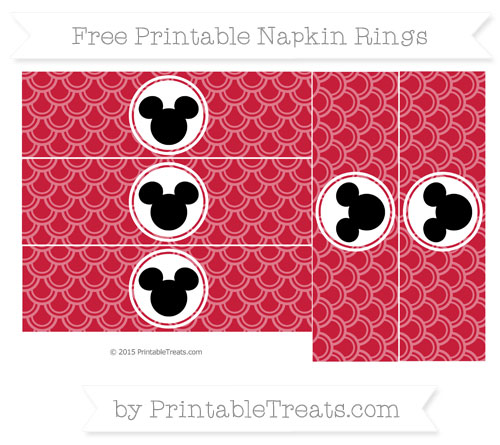 Free Cardinal Red Fish Scale Pattern Mickey Mouse Napkin Rings