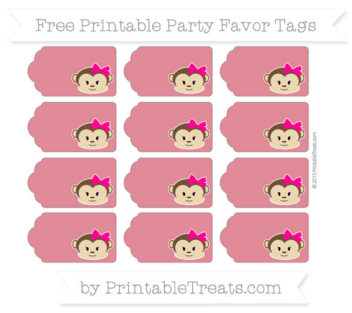 Free Cardinal Red Girl Monkey Party Favor Tags