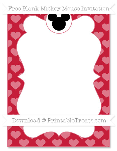 Free Cardinal Red Heart Pattern Blank Mickey Mouse Invitation