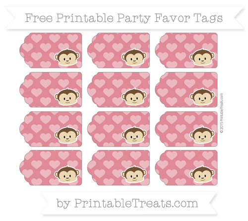Free Cardinal Red Heart Pattern Boy Monkey Party Favor Tags