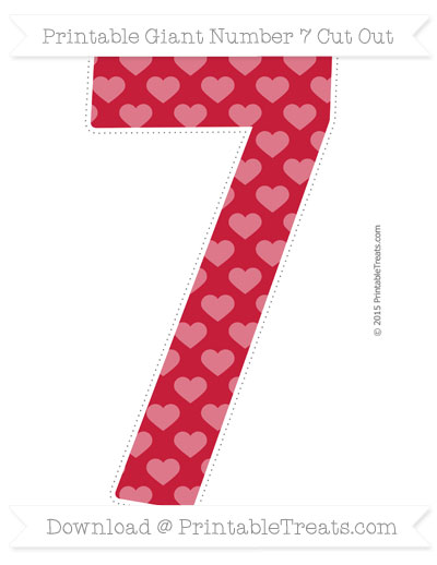 Free Cardinal Red Heart Pattern Giant Number 7 Cut Out