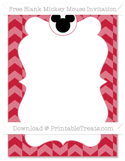 Free Cardinal Red Herringbone Pattern Blank Mickey Mouse Invitation