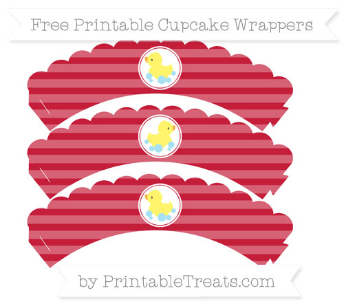 Free Cardinal Red Horizontal Striped Baby Duck Scalloped Cupcake Wrappers
