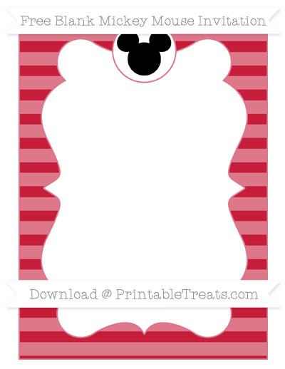 Free Cardinal Red Horizontal Striped Blank Mickey Mouse Invitation