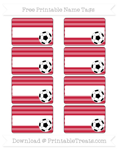 Free Cardinal Red Horizontal Striped Soccer Name Tags