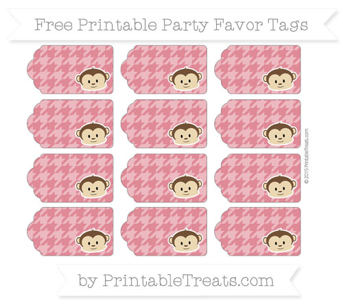 Free Cardinal Red Houndstooth Pattern Boy Monkey Party Favor Tags