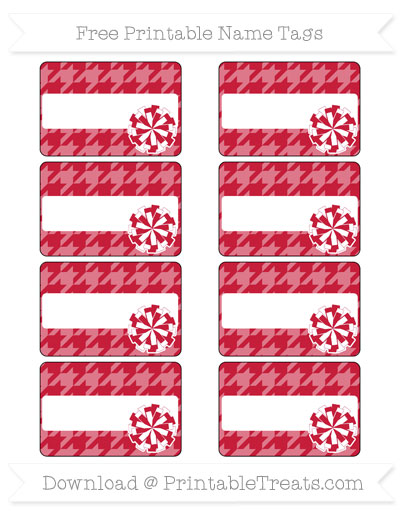 Free Cardinal Red Houndstooth Pattern Cheer Pom Pom Tags