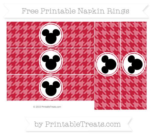 Free Cardinal Red Herringbone Pattern Mickey Mouse Napkin Rings