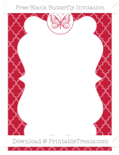 Free Cardinal Red Moroccan Tile Blank Butterfly Invitation