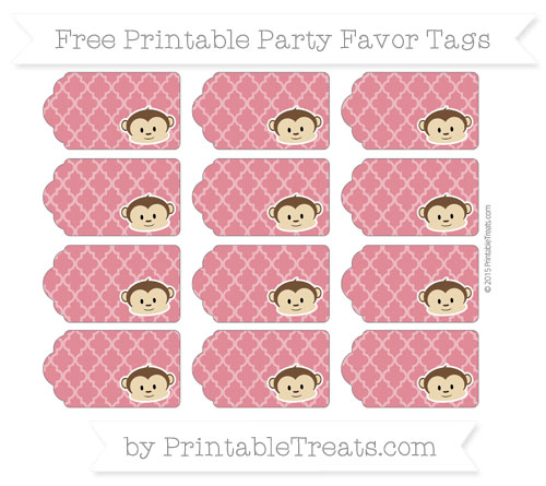 Free Cardinal Red Moroccan Tile Boy Monkey Party Favor Tags