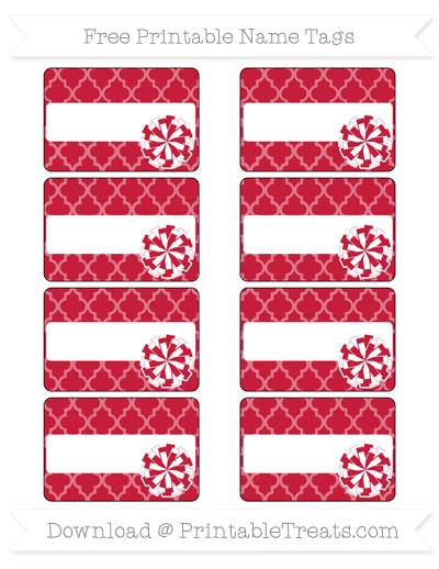 Free Cardinal Red Moroccan Tile Cheer Pom Pom Tags